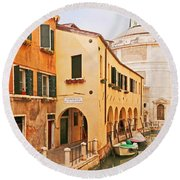 A Venetian View - Sotoportego De Le Colonete - Italy Round Beach Towel by Brooke T Ryan