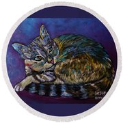 A Very Colorful Cat Round Beach Towel by Reb Frost