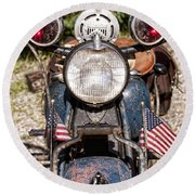 A Very Old Indian Harley-davidson Round Beach Towel
