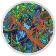 Round Beach Towel featuring the painting A Very Pretty Peacock In A Pear Tree by Denise Weaver Ross