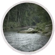 A View Downstream Round Beach Towel by Donald C Morgan