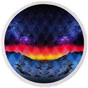 A View From A Winter Mountain Top Round Beach Towel