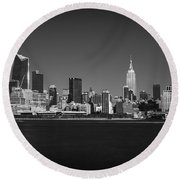 A View From Across The Hudson Round Beach Towel