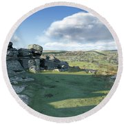 A View From Combestone Tor Round Beach Towel