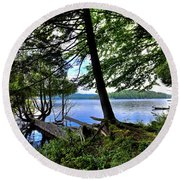 Round Beach Towel featuring the photograph A View From Covewood by David Patterson