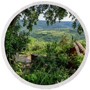 A View From Groznjan Of The Istrian Hill Town Countryside, Istria, Croatia Round Beach Towel