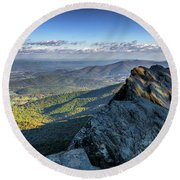 Round Beach Towel featuring the photograph A View From The Cliffs by Lori Coleman