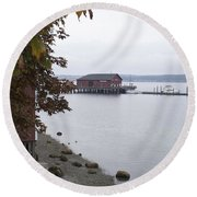 A View From Whidbey Round Beach Towel by Henri Irizarri