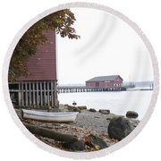 A View From Whidbey I Round Beach Towel by Henri Irizarri