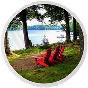 Round Beach Towel featuring the photograph A View Of Big Moose Lake by David Patterson