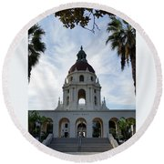 Serene City Hall Round Beach Towel
