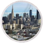 A View Of Downtown From Nob Hill Round Beach Towel