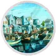 A View Of Ramblesville Round Beach Towel