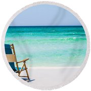 A View Of The Ocean Round Beach Towel by Shelby  Young