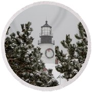 A View Of The Portland Head Light Round Beach Towel