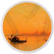 A View Of Venice At Sunset Round Beach Towel