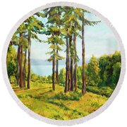 A View To The Lake Round Beach Towel