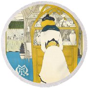 A Vintage Poster Advertising The Parisian Art Gallery La Maison Moderne Round Beach Towel