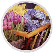 A Wagon Full Of Spring Round Beach Towel by Patrice Zinck