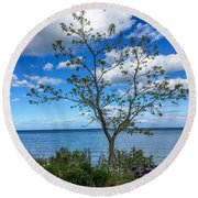A Walk Along Lake Michigan Round Beach Towel