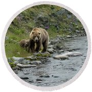 A Walk Along The Creek Round Beach Towel