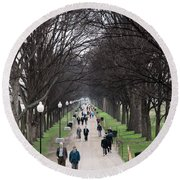 A Walk Along The National Mall In Washington Dc Round Beach Towel