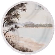 A Walk Along The Riverside Round Beach Towel