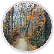 A Walk In November Round Beach Towel