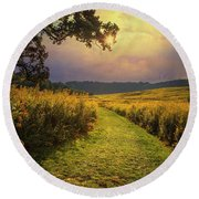 A Walk In Solitude Round Beach Towel