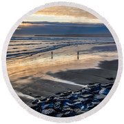 A Walk In The Evening Round Beach Towel