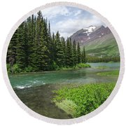 Round Beach Towel featuring the photograph A Walk In The Forest by Margaret Pitcher