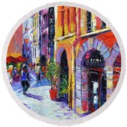 A Walk In The Lyon Old Town Round Beach Towel