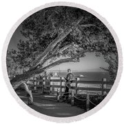 A Walk In The Park B And W Round Beach Towel