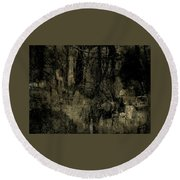 Round Beach Towel featuring the photograph A Walk In The Park by Jim Vance