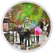 Round Beach Towel featuring the painting A Walk In The Rain by Wayne Pascall