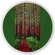 A Walk In The Redwoods Round Beach Towel