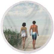 A Walk In The Sand Dunes Round Beach Towel