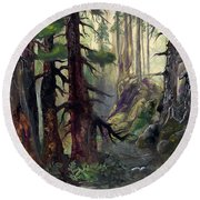 Round Beach Towel featuring the painting A Walk In The Woods by Sherry Shipley