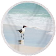 A Walk On The Beach Round Beach Towel by Shelby  Young