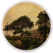 Round Beach Towel featuring the photograph A Walk On The Edge - Peru by Mary Machare