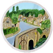 Round Beach Towel featuring the painting A Walk Through A Village In The English Cotswolds by Magdalena Frohnsdorff