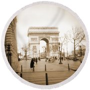 A Walk Through Paris 3 Round Beach Towel