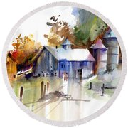 A Walk To The Barn Round Beach Towel by P Anthony Visco