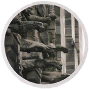 A Wall Of Gargoyles Notre Dame Cathedral Round Beach Towel