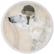 Round Beach Towel featuring the painting A Warm Polar Bear by Bri B