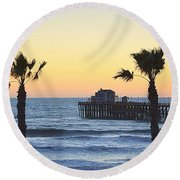 Round Beach Towel featuring the photograph A Warmer Place To Be by AJ Schibig