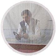 A Weaver Weaves A Carpet. Round Beach Towel