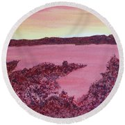 Round Beach Towel featuring the painting A Wee Bit O Heaven  by Joel Deutsch