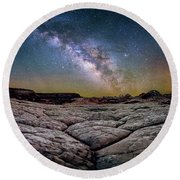 A White Pocket Nightscape Round Beach Towel