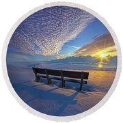 A Whole World In Front Of Us Round Beach Towel
